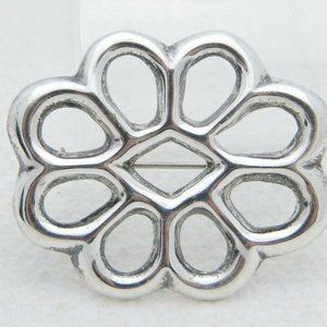 Vintage Sterling Silver Hand Crafted Openwork Pin